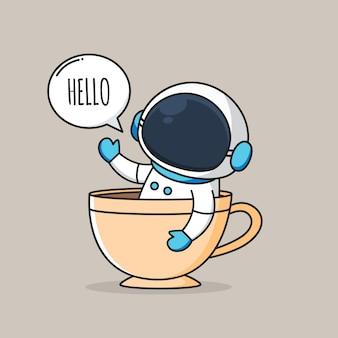 Astronauta fofo dentro de uma xícara de café