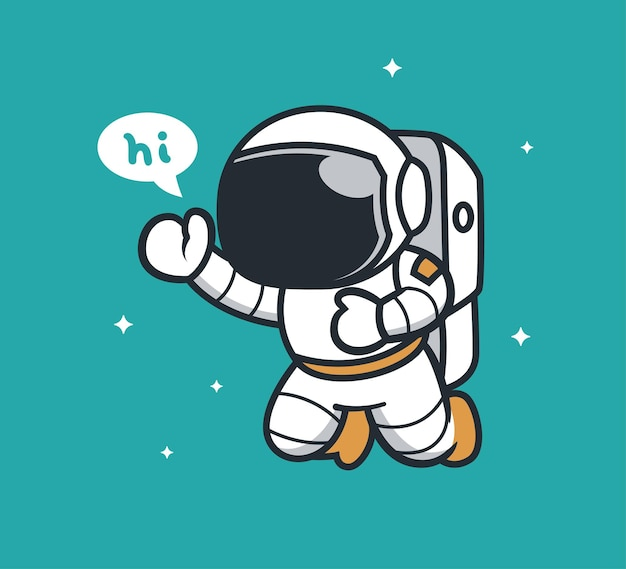 Astronauta fofo dizendo olá