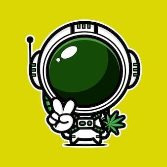 Astronauta fofo e folha de maconha