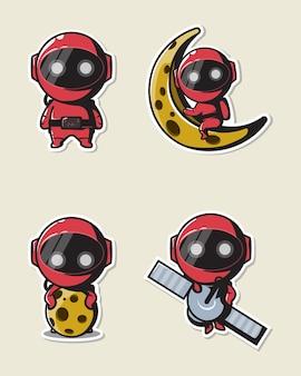 Astronauta fofo em roupa vermelha para logotipo, mascote, pôster, ícone