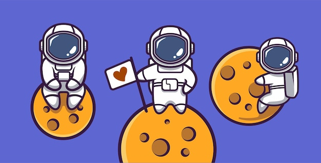 Astronauta fofo no espaço mascote com ilustração de desenho