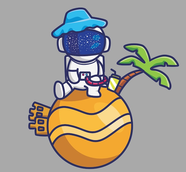 Astronauta fofo no planeta com animal dos desenhos animados do castelo de areia viajar férias férias conceito de verão