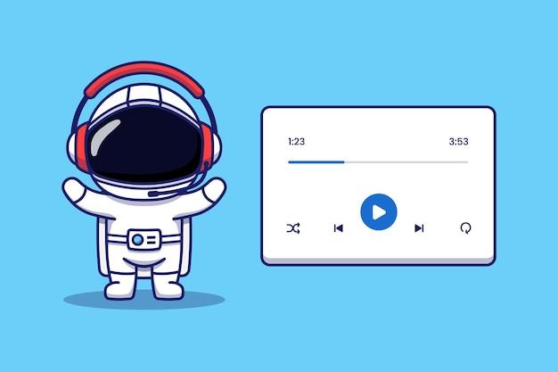 Astronauta fofo ouvindo música com fone de ouvido