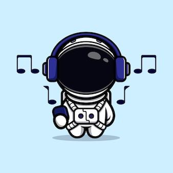 Astronauta fofo ouvindo música com mascote de fone de ouvido