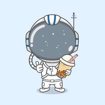 Astronauta fofo segurando chá com leite de boba