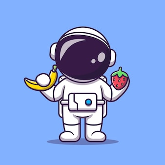 Astronauta fofo segurando desenho animado de banana e morango