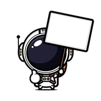 Astronauta fofo segurando um quadro de texto em branco