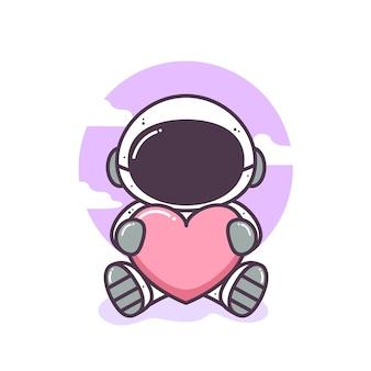 Astronauta fofo sentado e abraçando uma ilustração de coração