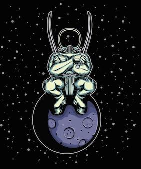 Astronauta fofo sentado na lua crescente