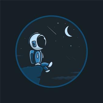 Astronauta fofo sentado olhando para a ilustração do céu noturno