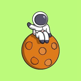 Astronauta fofo sente-se na ilustração do ícone dos desenhos animados da lua.