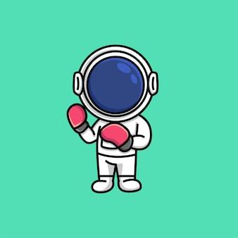 Astronauta fofo usando luvas de boxe desenho animado