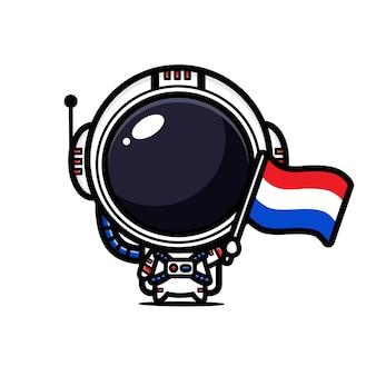 Astronauta fofo voando a bandeira holandesa