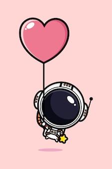 Astronauta fofo voando em um balão do amor