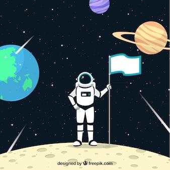 Astronauta fundo na lua com uma bandeira