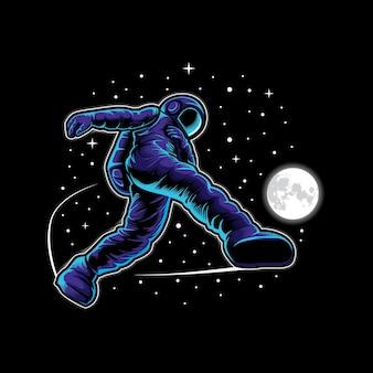 Astronauta futebol no espaço ilustração