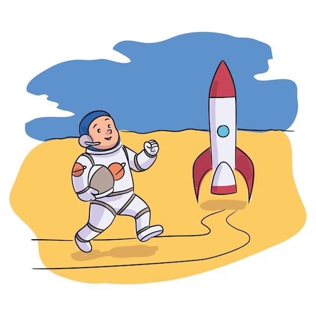 Astronauta garoto sorridente correndo para o foguete