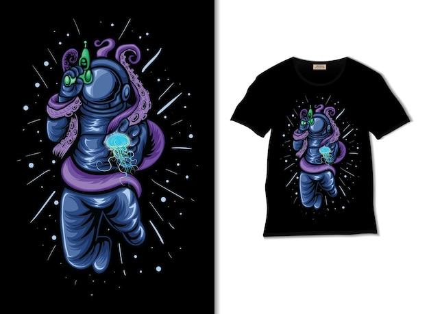 Astronauta guerreando com ilustração de polvo e água-viva com design de camiseta