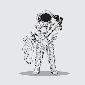 Astronauta homem salvador menina ilustration linha artística