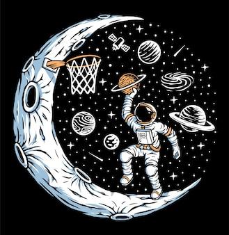 Astronauta jogando basquete na ilustração da lua