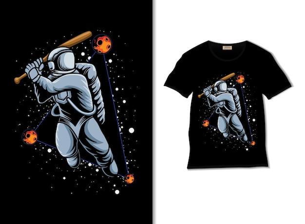Astronauta jogando beisebol no espaço sideral com design de camiseta