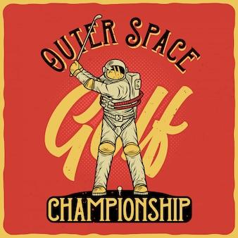 Astronauta jogando golfe