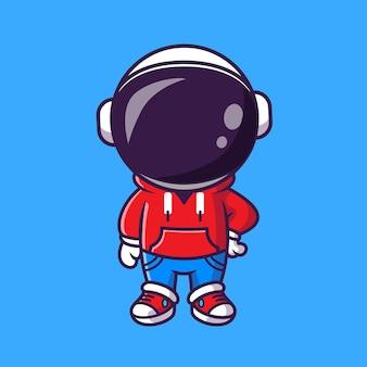 Astronauta legal bonito com jaqueta e jeans dos desenhos animados ícone ilustração vetorial. conceito de ícone da moda de ciência vetor premium isolado. estilo flat cartoon