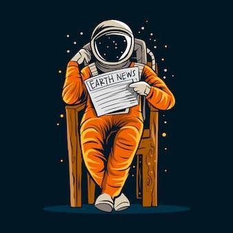Astronauta ler notícias papel terra ilustração design