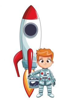 Astronauta, levantar, menino