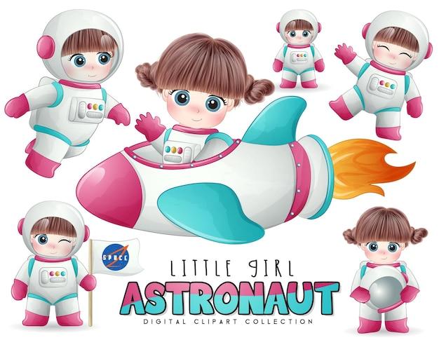 Astronauta linda garota posa em conjunto de ilustração em estilo aquarela
