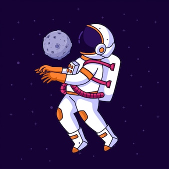 Astronauta malabarismo no espaço