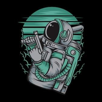 Astronauta, manuseio, arma, ilustração