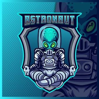 Astronauta, mascote da galáxia espacial, modelo de vetor de ilustrações de design de logotipo, para flâmula de jogo de equipe youtube banner twitch discord