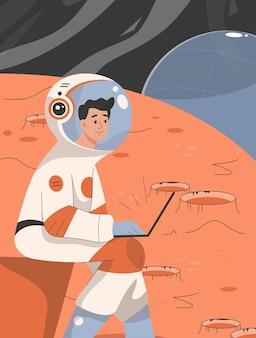 Astronauta masculino trabalha em um laptop e faz pesquisas científicas