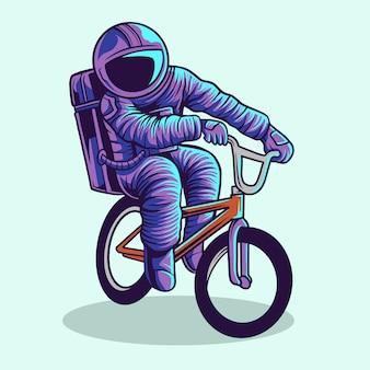 Astronauta, montando, bmx, vetorial, ilustração, desenho