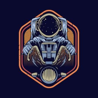 Astronauta, montando, motocicleta, ilustração, emblema, desenho