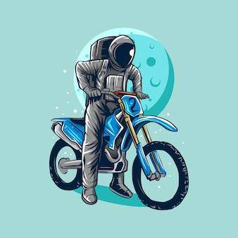 Astronauta, montando, sujeira, bicicleta, motocross, ilustração, desenho