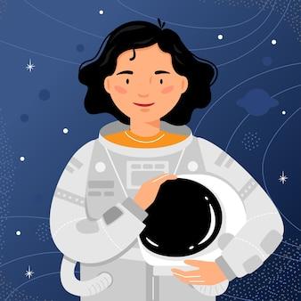 Astronauta mulher fica no fundo do céu estrelado. retrato do cosmonauta da mulher.