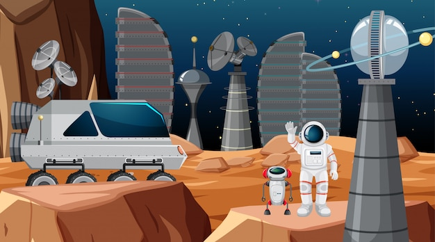 Astronauta na cena do espaço