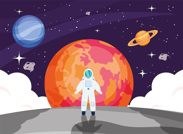 Astronauta na frente de marte no espaço do universo