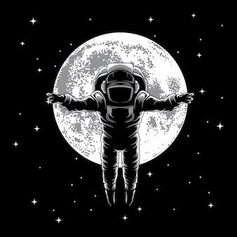 Astronauta na ilustração da lua