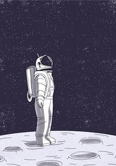 Astronauta na ilustração da superfície da lua.