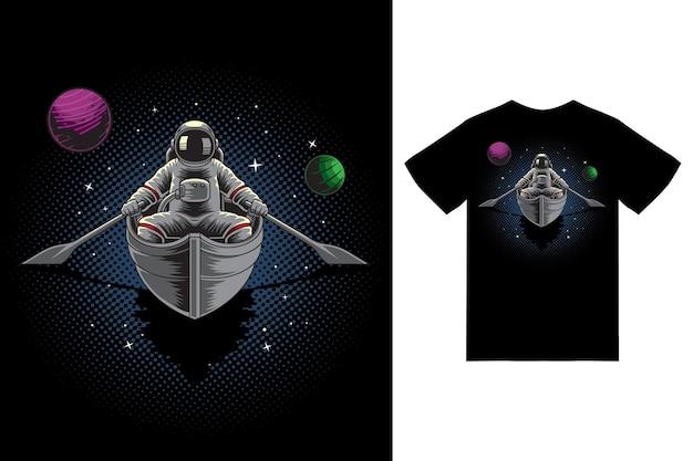 Astronauta na ilustração do barco com vetor premium de design de camiseta