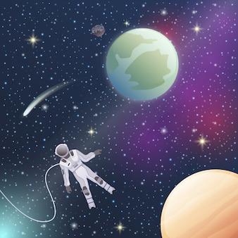 Astronauta na ilustração do espaço sideral