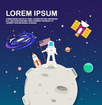 Astronauta na lua e design de ilustração do sistema solar