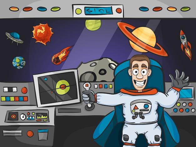 Astronauta na nave espacial
