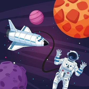 Astronauta nave espacial lua planeta estrelado exploração espacial