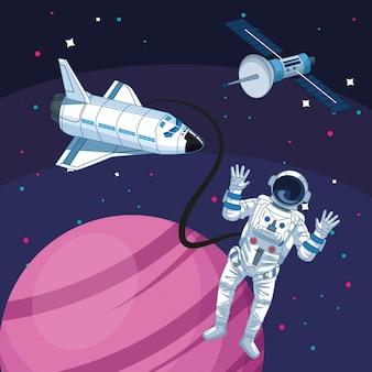 Astronauta nave espacial satélite planeta astronomia exploração espacial