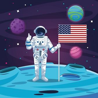 Astronauta no desenho da galáxia