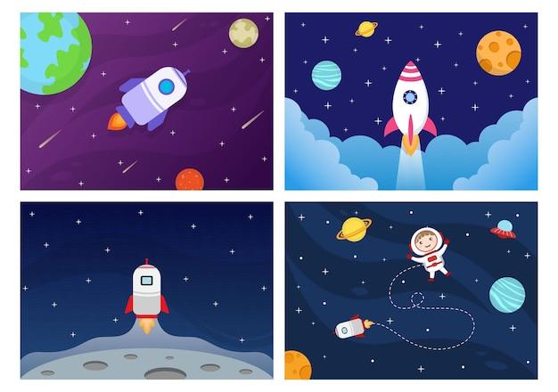 Astronauta no espaço sideral com ilustração de foguete